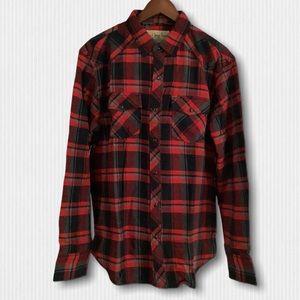 New Red Black Plaid Cotton Flannel Shirts Men's L